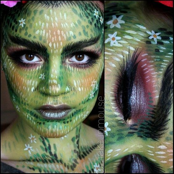 creative forest nymphe / tree spirit #makeup (facepaint) for #Halloween @makeupmouse