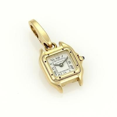 Cartier 18k Yellow Gold Panthere Watch Charm Pendant Sapphire Crown