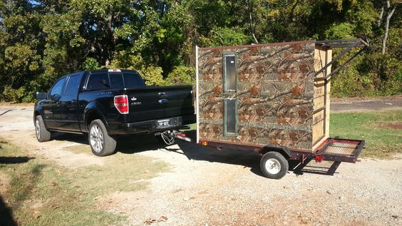 Small Portable Trailers : Fully portable hunting blind built on a small trailer for