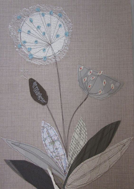H-anne-Made: Stitched Collage Workshop.  Love the soft look of the lace and the tiny buds...  Would be tedious but worth it...
