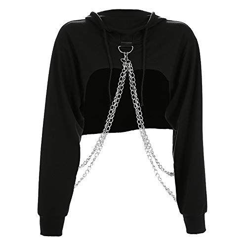 ZGRNPA Felpe Corte Hoodies Donna Autunno Casual,Ragazza Sweatshirt Pullover Elegante Manica Lunga Crop Top Maglietta Cotone Camicette T-Shirt Yoga Fitness Calcio Sportiva Maglione