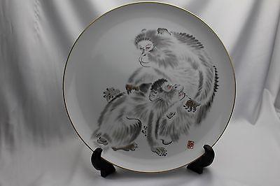 Japanese-antique-picture-plate-Monkey-FUKAGAWA-ARITA-ware-stand