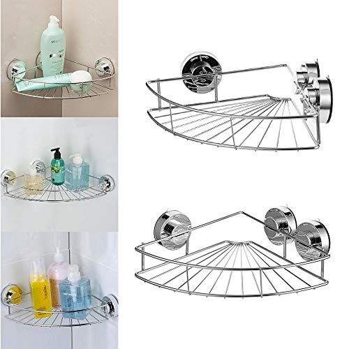 Redleafus Suction Cup Corner Caddy Triangle Shampoo Organizer Wall Mounted Bath Shelf Storage For Bathroom Descrip Bath Shelf Storage Shelves Wall Organization