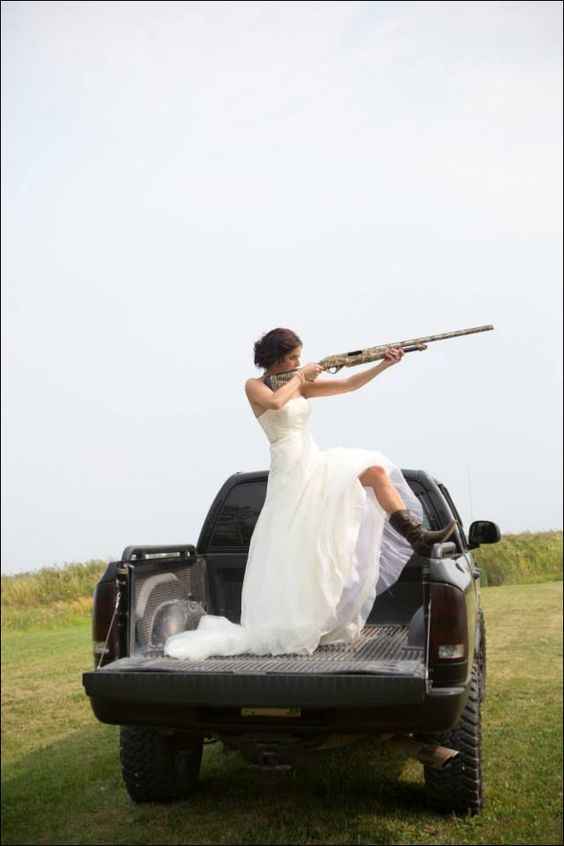 Shotgun country wedding...boom! love it.
