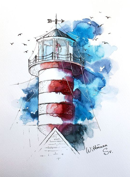 Original Lighthouse 1 Watercolor Painting Artwork On Aquarelle