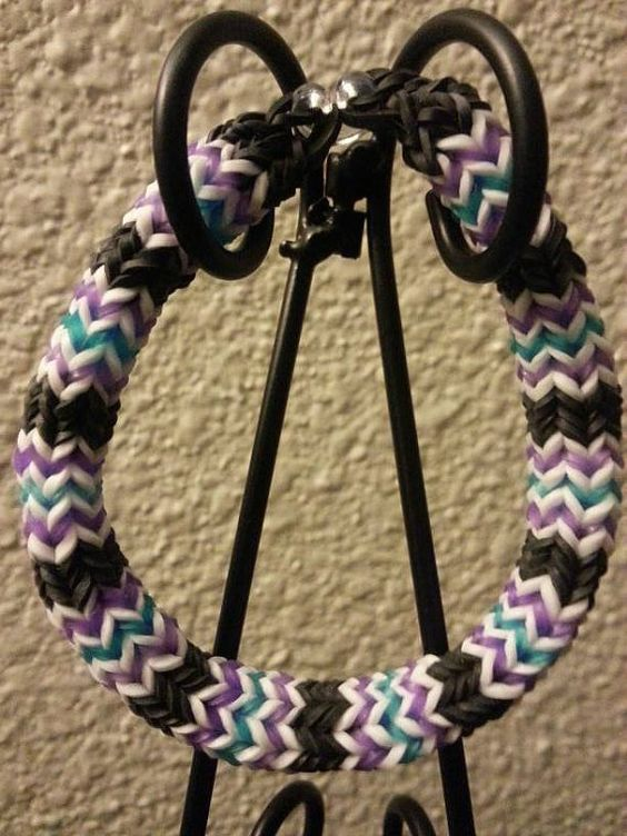 Hexafish Bracelet Black/White/Purple/Blue by ButtonsBetwixtRibbon, $4.00