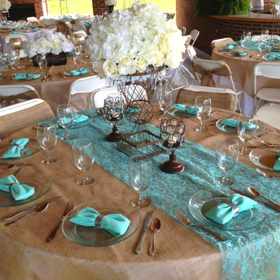 Tiffany, burlap, brown wedding reception! (lighter blue and some lace= perfection)