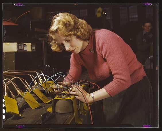 """Lucile Mazurek, age 29, working on black-out lamps to be used on the gasoline trailers in the Air Force. February 1943."""""""