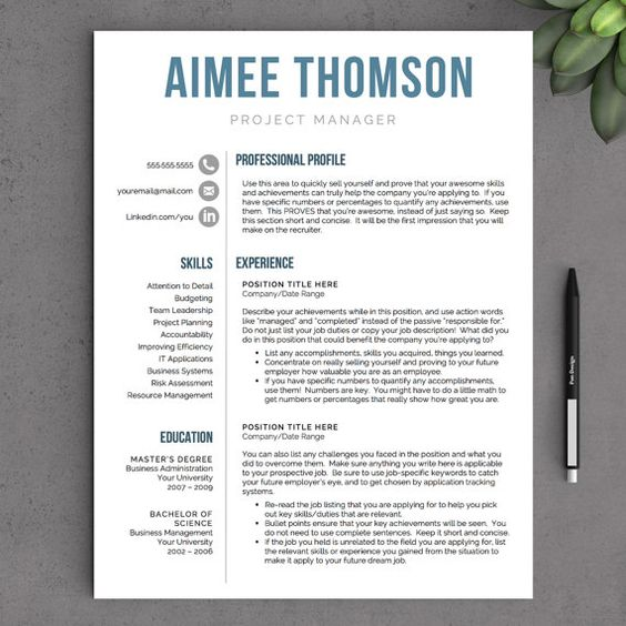 modern resume template for word 1 and 2 page resume template icon ...