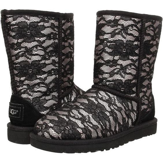 Womens Boots UGG Classic Short Antoinette Moonlight Textile