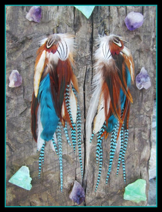 long Feather Earrings, Real feather earrings, turquoise feather earrings, grizzly feather earrings, grizzly feathers, long earrings, natural by dieselboutique on Etsy https://www.etsy.com/listing/210995184/long-feather-earrings-real-feather