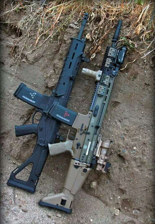 Rifle on the right is a SCAR-L as it has the SCAR's distinctive buttstock and, if you zoom in, the FN Herstal logo.. I do not know what is the rifle on the left, although it has a buttstock like the Remington/Bushmaster ACR, so maybe it is an ACR, but it is not a SCAR.