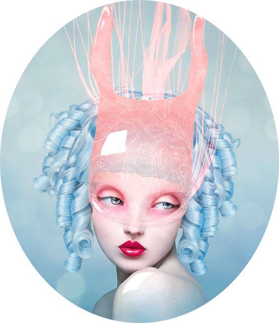 pink lips blue petals by Natalie Shau, via Behance