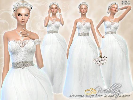 The Sims Resource: Wedding Dress Endless Elegance by Pinkzombiecupcake • Sims 4 Downloads