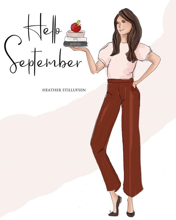 """Heather 🌸 Stillufsen on Instagram: """"Hello September...new month, new goals, new dreams and lots of new adventures. 🍎 #heatherstillufsen #september #fashionillustration…"""""""