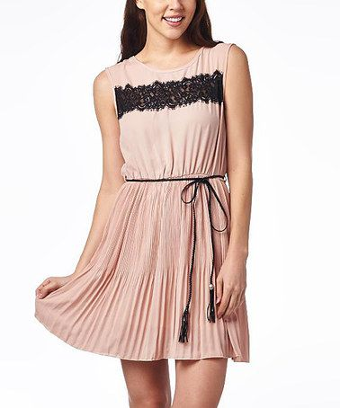 Another great find on #zulily! Dusty Pink & Black Lace-Trim Skater Dress #zulilyfinds