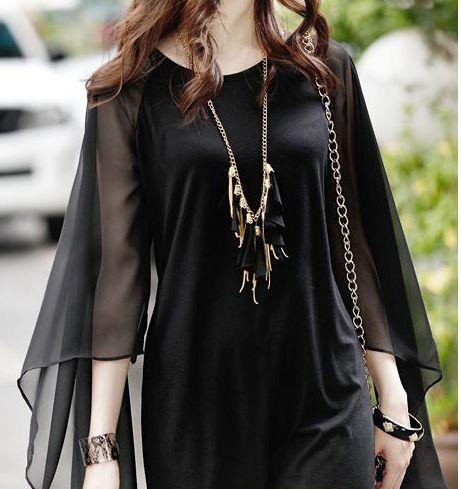 Vestido doble capa negro de la marca Sheinside.