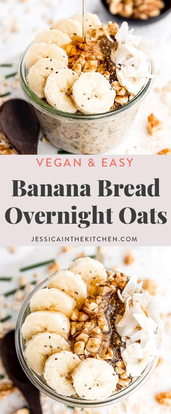 These Banana Bread Overnight Oats Taste Like Dessert For Breakfast It S Filling Nourishing And So Easy In 2020 Sweet Breakfast Dessert Recipes Easy Easy Banana Bread