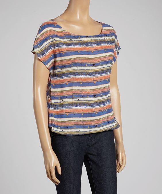 Blue & Coral Stripe Open-Back Short-Sleeve Top | Janet Paris