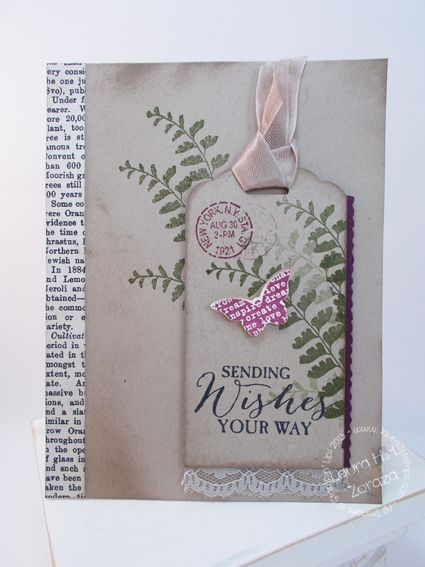 Sending Wishes Your Way butterfly basics tag card by Laura Zaraza