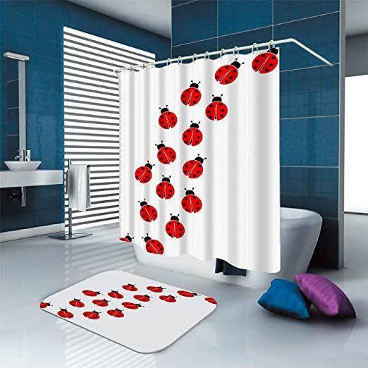 Home Garden Cute Ladybug Green Shower Curtain Bath Mat Toilet Cover Rug Bathroom Decor Bath