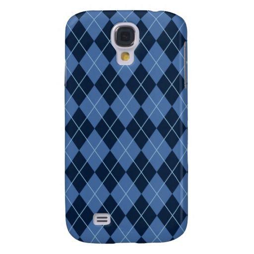 Navy Blue Argyle Galaxy S4 Cases