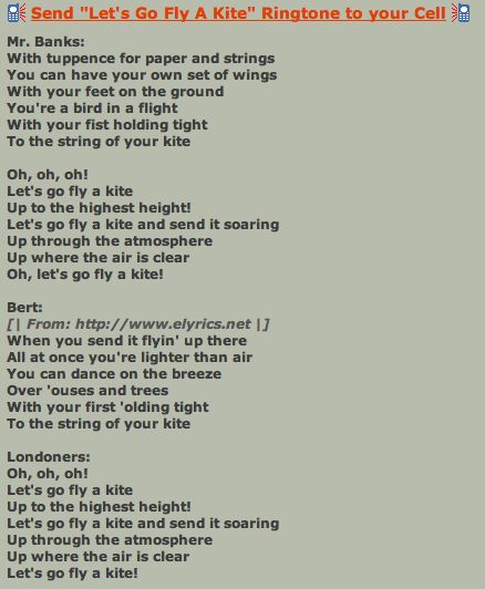 Lyrics to lets go fly a kite