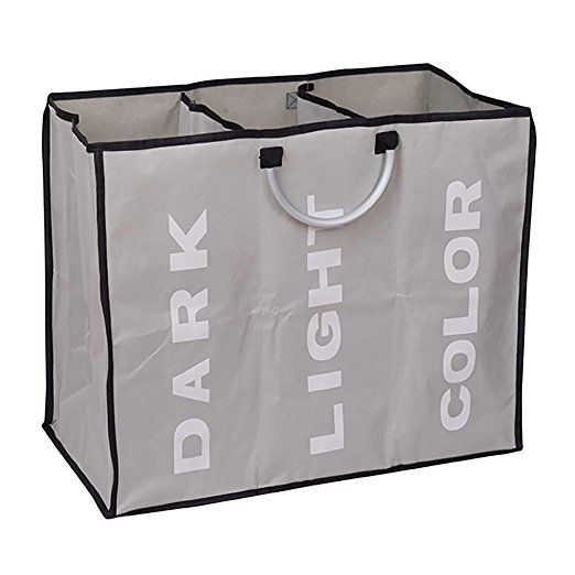3 Sections Foldable Basket Hamper Laundry Wash Clothes Dirty Storage Bag Bin