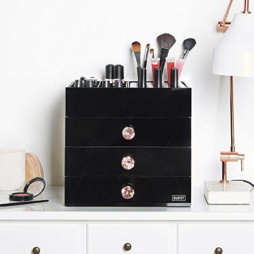 Large Black Acrylic Cosmetic Makeup Organizer Stand With 3 Drawers Best Acrylic Makeup Organizers Acrylic Organizer Makeup Acrylic Storage Box Makeup Organization
