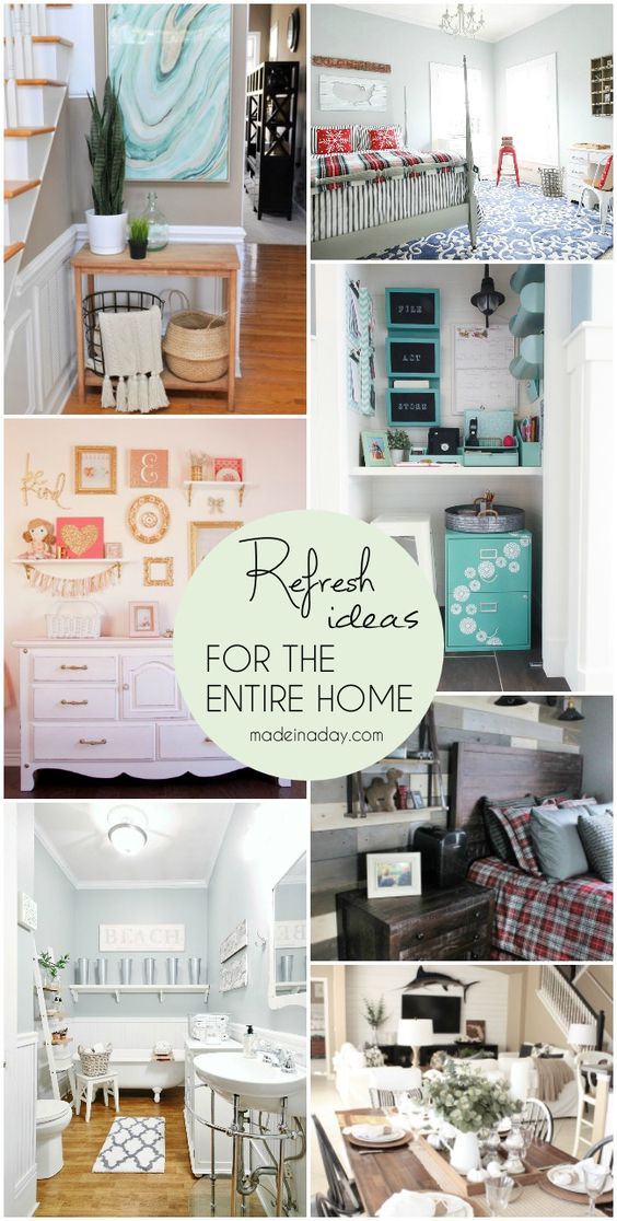 Refresh Ideas for the Entire Home, beautiful room makeovers, entryway, bedroom, plank wall, command center closet, gallery wall, bathroom via @madeinaday