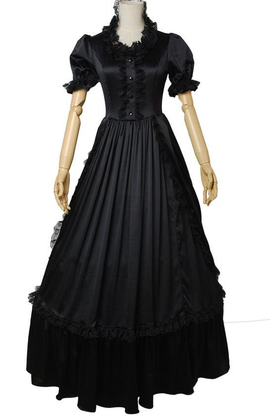 AvaLolita Elegant Black Short Sleeve Floor-length Gothic Lolita Dress, Customized