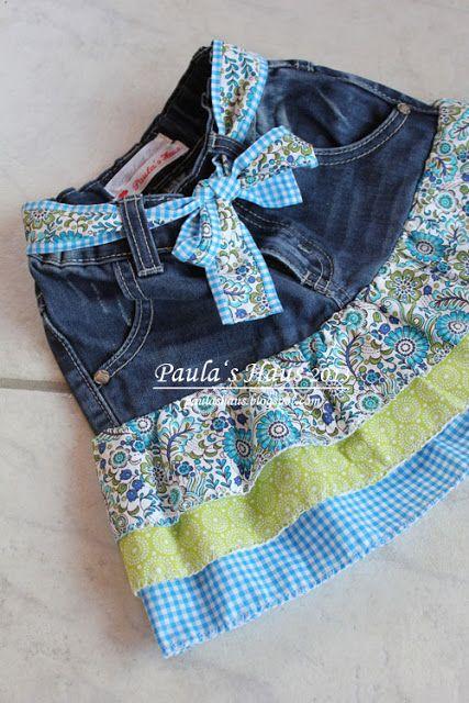 Paula's Haus: Jeans Recycling – nachgearbeitet nach dem Tutorial von Lillesol und Pelle.