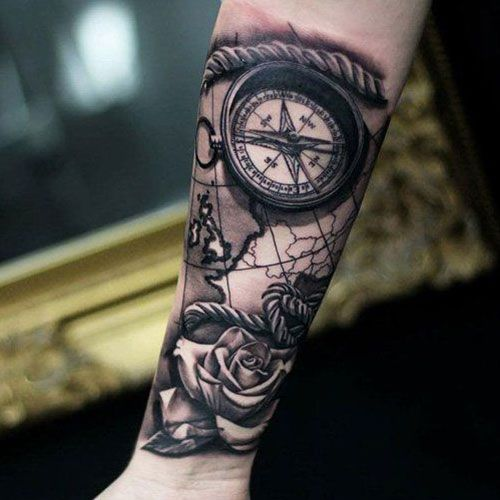 125 Best Compass Tattoos For Men Cool Designs Ideas 2020 Guide Nautical Compass Tattoo Compass Tattoo Men Tattoos For Guys