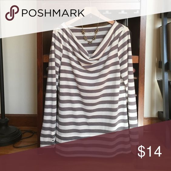 LOFT nautical stripe top Ann Taylor LOFT soft gray and cream nautical print top. Waterfall neckline. Size large fits sizes 10 12. LOFT necklace not included and for sale in separate listing. No trades. LOFT Tops