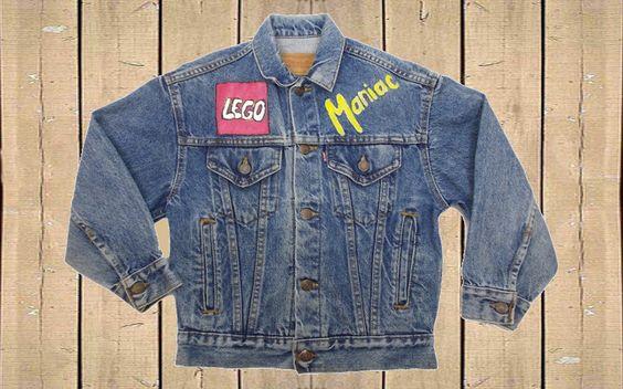 Vintage Levis Usa 57508 Denim Trucker Jacket Boys Kids Childs Customised Painted Lego Maniac Blue Stonewash Size Small By Blac Boys Jacket Denim Trucker Jacket