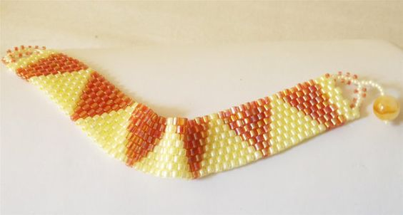 Yellow and Peach Peyote Bracelet