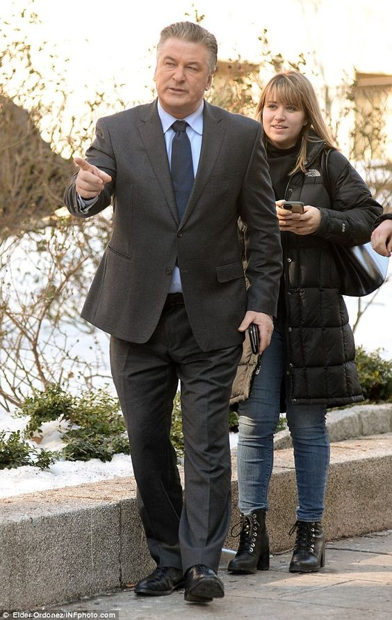 Leading the way: The 30 Rock star chatted with a crew member on set...