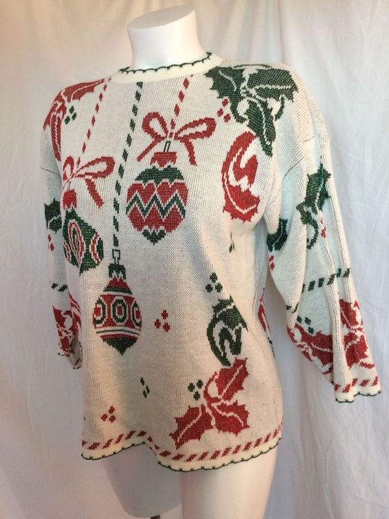 *SOLD*  vintage Christmas Sweater Ugly sz L Large Sparkle Glitter Knit USA made!  $17.99 free shipping  #HolidayTime #Crewneck #Christmas
