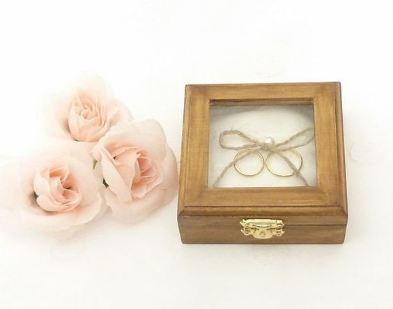 Rustic Wedding Ring Pillow Bearer Wooden Box Ring Holder