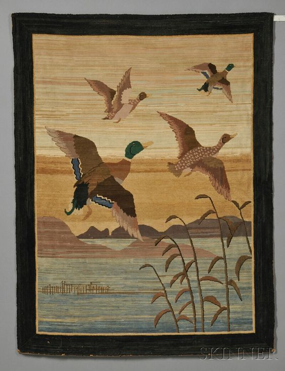 Grenfell Pictorial Hooked Rug with Mallards in a Summer Landscape, Grenfell Labrador Industries, Newfoundland and Labrador, early 20th century, composed of silk, cotton, and rayon jersey strips, depicting two mallard drakes and hens in flight at sunset over the water with marsh grasses and distant mountains, in shades of blue, brown, green, and white, woven maker's label affixed to the reverse, (edge losses), 52 1/2 x 39 in.   Estimate $800-1,200  Sold for $2,370