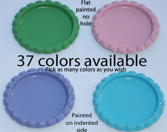 Item 113a  Flat Bottle caps Qty 50 Flat Painted by BottleCapShack, $9.50