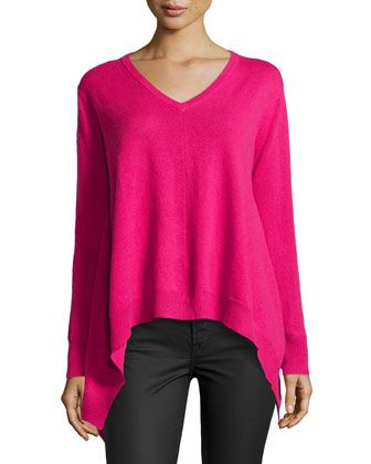 Cashmere V-Neck Handkerchief Sweater, Lipstick by Central Park West at Neiman Marcus Last Call.
