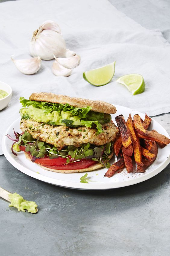 Turkey Burger with Sweet Potato Fries - GoodHousekeeping.com