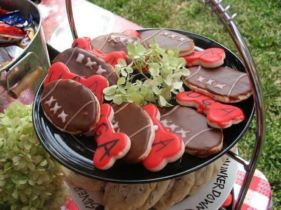 UGA tailgate - footballs & bones cookies