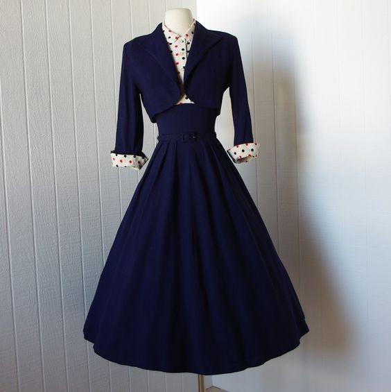vintage 1940s dress ...fabulous WWII navy blue full skirt pin-up ...