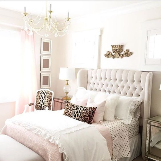 gorgeous bedroom! I love the pops of leopard print with the pastels + neutrals:
