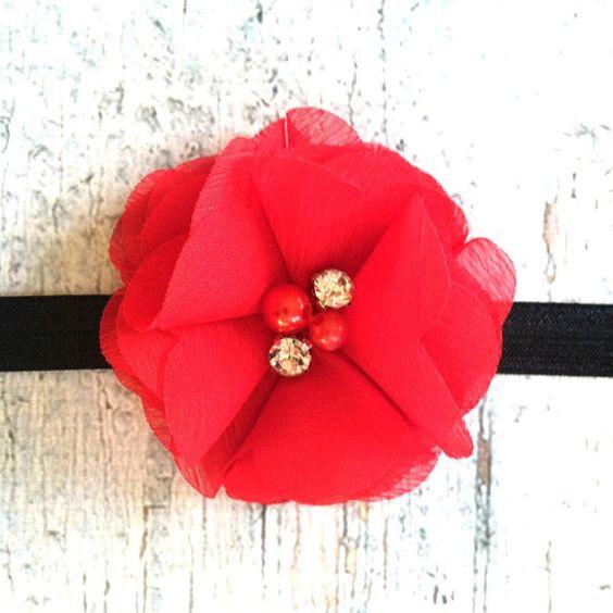 Red Flower Childrens Headband....Newborn headband, Baby Bow, Toddler Headband, Shabby Chic Headband