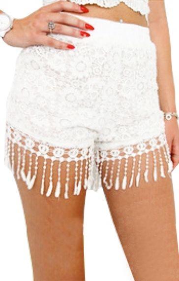 Super Cute White Lace Beaded Fringe Shorts! | Shoppinggg ...