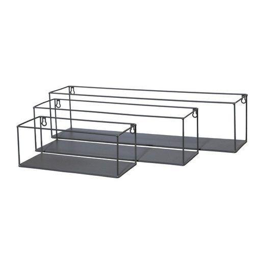Metal Wall Shelf Rectangular Long Set Of 3 Wohnung Metal