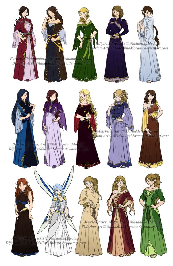 Anime Character Design Tropes : Dress n clothes designs p different kin women by